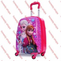 Wholesale 2015 Snow Queen snow elsa Anna stereo girl Travel luggage suitcase cartoon quot Pull rod box school bag children gift
