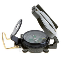 Wholesale Mini Military Lensatic Watch Pocket Compass Magnifier Army Green For Camping Hunting Marching HM351