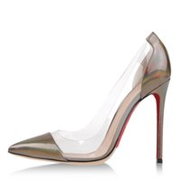 Cheap Fashion Pointed Toe Woman Single Shoes Transparent Euramerican Style Brown Patent Leather Shallow Mouth Stiletto Heel 12cm