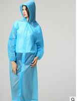 Wholesale Raincoats Adult thickening raincoat PEVA environmental light raincoat travel raincoat with elastic