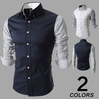 Wholesale Korean fashion New men s shirts long sleeved shirt Shirt stitching Stripe sleeves Shirt Slim Casual shirts CS37