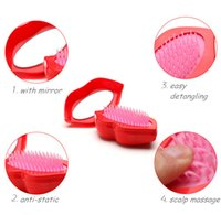 Wholesale New Portable Magic Detangling Comb Shower Hair Brush With Mirror Big Red lips Antistatic combs Salon Styling Tamer Tools Colors styles