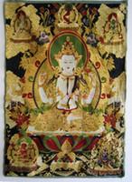 Wholesale Tibetan Buddhist silk embroidery brocade thangka four arm Guanyin gold brocade embroidery