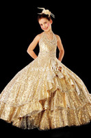 Wholesale 2015 Spring Girl s Pageant Dresses Lovely Cute Halter Gold Sequin Ball Gown Princess Party Flower Girl Dresses Cheap Pageant Dress for Teens