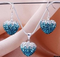 Precio de Mixed crystal beads-moda ab arcilla puede elegir color multicolor del envío libre granos cristalinos de mezclar Gradient Corazón Shamballa aretes de gota colgante del collar