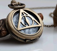 Wholesale Anime Harry potter the deathly hallows bronze Hollow Quartz Pocket Watch Necklace good quality