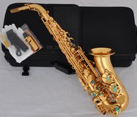 Wholesale Professional Gold Alto Saxophone Abalone Shell Key Sax High F Double Rails New