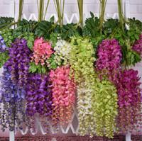 decoration - Romantic Artificial Flowers Simulation Wisteria Vine Wedding Decorations Long Short Plastic Silk Plant Bouquet Wedding Garden Decoration