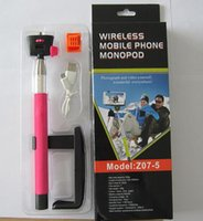 Wholesale Wireless Bluetooth monopods Shutter Camera Remote Controller Extendable Handheld Self portrait Monopod self sticker Photograph