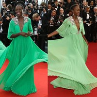 Wholesale Cannes Festival Lupita Nyongo Celebrity Dresses Long Sleeve Hand Made Flowers Deep V Neck Floor Length Red Carpet Dresses