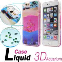 aquarium covers - 2016 For Iphone plus Case Aquarium Liquid Dynamic Hybrid Fish Case Colorful Sea Back Cover Case For Iphone Case Retail Package