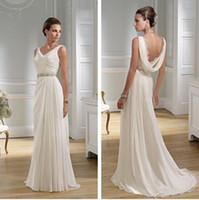 Wholesale Grecian Style Wedding Dresses V Neck Watteau Low Open Back Summer Beach Wedding Gowns Long Chiffon Nymph Greek Bridal Dress