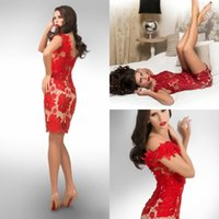 Wholesale Red Lace Off The Shoulder Party Dress Sexy Hugging Mini Skirt Top Selling Sheath Woman Christmas Party Cocktail Dresses Formal Gowns