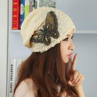 big pile - New fall Cool fashion big butterfly hat pile cap and earmuffs butterfly cap for women H542