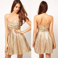 Wholesale Sparkly Gold Sequined Homecoming Dresses A Line Strapless Neckline Pleated Cheap Graduation Dress Short Mini Prom Gowns For Women