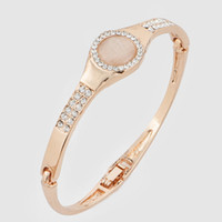 bangle style watches - Fashion Bracelet High Quality Rose Gold Plated K Gold Plated Bangle Crystal Watch Style Round Opal Bangle Bracelet for Women