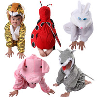 Wholesale Child Performing Cartoon Animal Costumes Cute Dress Coveralls Clothes for Halloween Party Tiger Lion Frog Duck Animal for Choice