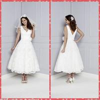 adorn designer - 2016 V Neck Russia Designers A Line Lace Wedding Dresses Tea Length Short Handmade Flowers Adorned Waist Bridal Wedding Gowns Custom Online