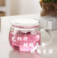 Wholesale Thickening glass round three pieces cup transparent flower tea cup piceces set specially for officers ELETON ml ml