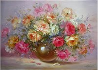 Wholesale Frameless Pictures Painting By Numbers DIY Digital Oil Painting On Canvas Home Decoration x50cm version of sweet flowers