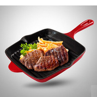 Wholesale HOT SALE Non stick cookware cast iron pan steak frying pan high quality ECO Friendly uncoated COLORS