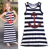 Wholesale 2015 Fashion Kids Girls Sequins Anchor Navy Stripes Party Dress Maxi Sundress Y