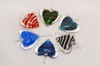 murano glass - Heart Multi Color Lampwork Murano Glass Pendants Stripe Necklaces Retail FREE pdt165