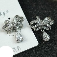 Cheap 5 fold Wholesale Korean female butterfly decorative flower crystal pendant earrings personality flash diamond earrings