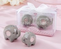 Wholesale Newest sets Little Peanut Elephant ceramic Salt and Pepper Shaker for Wedding party favors gifts