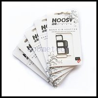 Wholesale 4 In Noosy Sim Adapter For Iphone Iphone S Noosy Nano Micro SIM card Adapter Black White sim card tray holder with retail box