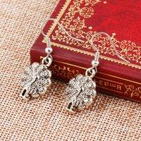 silver eagle - Antique Silver Cross Love Heart Tree Hamsa Hand Owl Eagle Charm Drop Earring Dangling Women Vintage Hoop Earrings