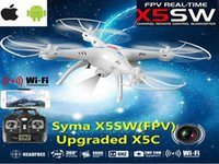Wholesale HIGH quality Drones SYMA X5SW RC Drone FPV Helicopter Quadcopter with HD Camera G Axis Real Time RC Helicopter Toy