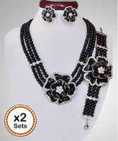 bijoux fantaisie rouge noir achat en gros de-Noir rouge orange Femmes Party African Beads Jewelry Sets Collier Boucles d'oreilles Bracelet bijoux fantaisie set 2sets / Lot 3069