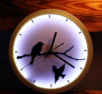 Wholesale 12Inch Glowing Wall Clocks Fashion glow in the dark LED wall clock modern design with mute quartz clock movement wall watches home decor F56