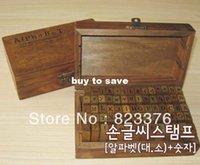 Wholesale DHL set set Number and Letter Wood stamp Set Wooden Box Multi purpose stamp DIY funny work