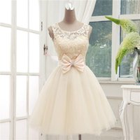Wholesale New Evening Party Dresses Princess A Line Champagne Lace Sleeveless Short Dress Prom Party Dress Customize