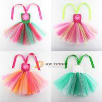 Cheap 2015 hot summer girls rainbow colorful tutu dresses children baby colorful chest wrap tutu skirt girl dress with flower J011201#