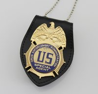 bead pad - The Badge of the U S Enforcement Administration DEA Badge Leather Pad Beads Chain High Quality Metal Badge DHL Free