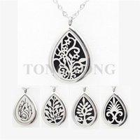 Wholesale 28mm magnetic L stainless steel teardrop essential oil diffusing locket perfume locket free felt pads locket only
