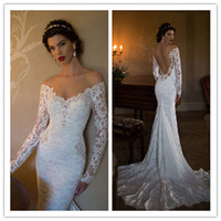 Wholesale Sexy Berta Mermaid Beaded Appliqued Lace Long Sleeves Bridal Gowns with Off Shoulder and Open Back Bride Dress SX009