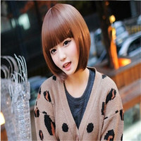 bang styles for short hair - short straight hair wig Black brown bob wigs with bangs synthetic women Hairstyle wigs style short wigs for women
