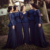 Wholesale Cheap Chiffon Bridal Party Prom Celebrity Evening Gowns Dark Navy Blue Royal Long Sleeves Bridesmaid Evening Dresses Peplum With Lace