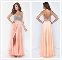 Wholesale China Prom Dresses Backless Crystal Sheer Deep V Neck with Beads Split Side Floor Length Sexy Formal Evening Dress Coral Prom Gown Plus Size