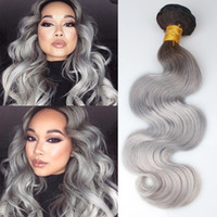arrival indian hair - New Arrival B Gray Virgin Human Hair Wavy A Brazilian Virgin Hair Body Wave Silver Grey Hair Weave Ombre Hair Extensions