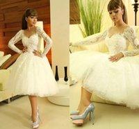Cheap Myriam Fares Arabic Wedding Dresses 2015 Summer Beach wedding Party Dresses Tea-length A-line Lace Sheer Long Sleeves Little White Dresses