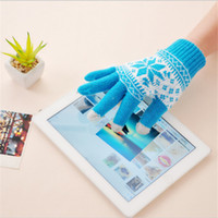 Wholesale Fashion snowflake screen touch gloves unisex winter warm smart phone ipad touch screen glove men woman lovers gloves Mittens