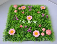 artificial grass mat - Fairy door supplies Artificial plastic grass mat with pink flowers and pink mushrooms
