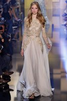 amazing embroidery designs - New Design Elie Saab Amazing Detail Gold Embroidery Long Sleeve Prom Dresses Custom Make Sheer Neck Special Occasion Dresses