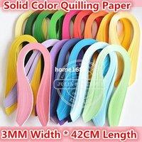 achat en gros de quilling bandes de papier-1000PCS largeur 3mm * 42cm Longueur Qualité couleur bande de papier de bricolage solide Quilling papier fait main artisanat de papier