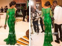 Wholesale new sexy evening dress vestido de festa green long sleeve lace party prom gown red carpet Celebrity Dresses